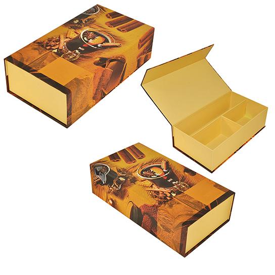 Коробка с клапаном на магните, обтянутая полиграфическим лайнером